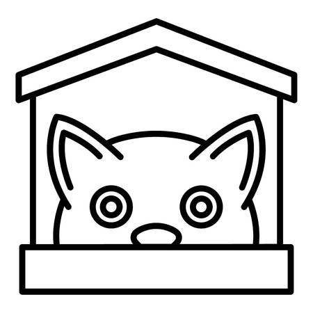 Cat in house icon. Outline cat in house vector icon for web design isolated on white background