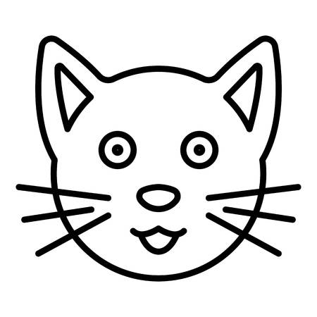 Cute cat face icon. Outline cute cat face vector icon for web design isolated on white background Illustration