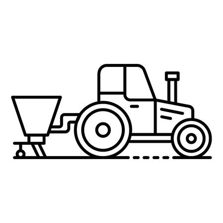 Tractor with seed drill icon. Outline tractor with seed drill vector icon for web design isolated on white background