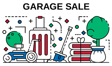 Garage sale banner. Outline illustration of garage sale vector banner for web design