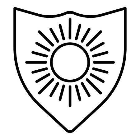 Sun protect shield icon, outline style