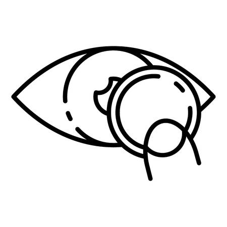 Put eye contact lens icon, outline style