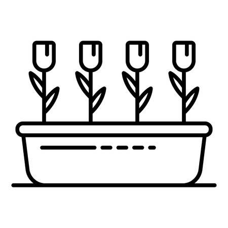Garden flower pot icon. Outline garden flower pot vector icon for web design isolated on white background