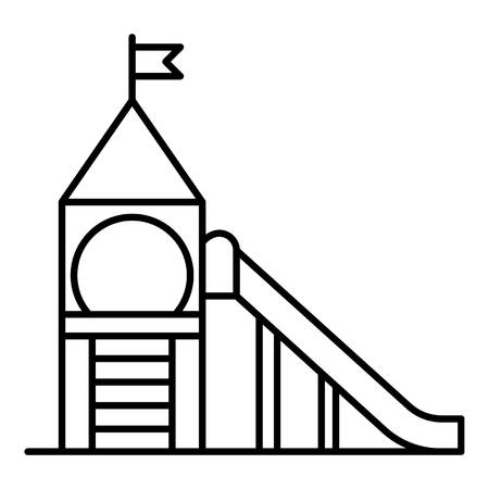 Kid tower playground icon, outline style Illustration