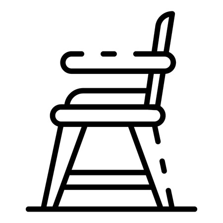 Baby food chair icon. Outline baby food chair vector icon for web design isolated on white background Stock Illustratie
