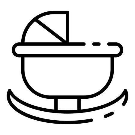 Rocking pram icon. Outline rocking pram vector icon for web design isolated on white background