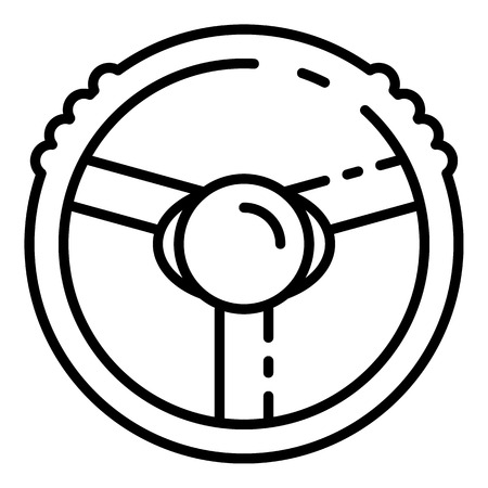 Steering wheel icon, outline style