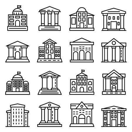 Courthouse icons set, outline style