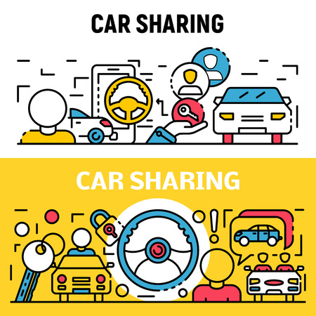 People car sharing banner set. Outline set of people car sharing vector banner for web design