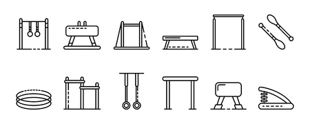 Gymnastics equipment icons set, outline style Illustration