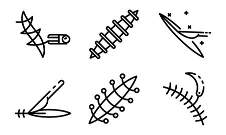 Suture icons set. Outline set of suture vector icons for web design isolated on white background Illusztráció