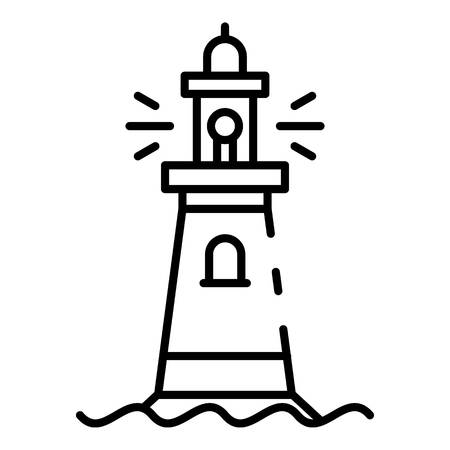 Stone lighthouse icon. Outline stone lighthouse vector icon for web design isolated on white background
