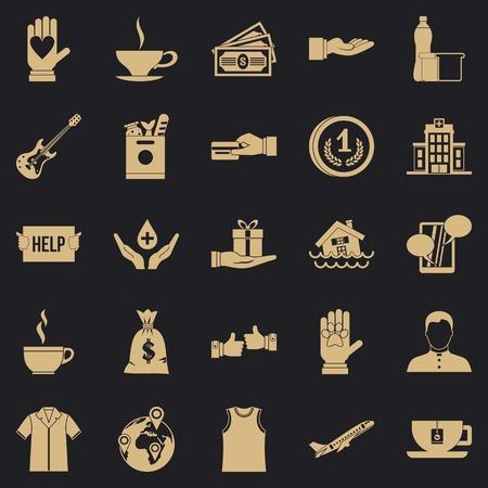 Ensemble d'icônes d'aumône. Ensemble simple de 25 icônes vectorielles d'aumône pour le web pour toute conception