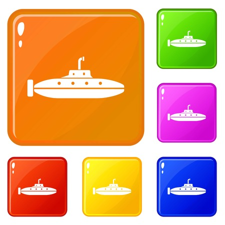 Research submarine icons set vector color