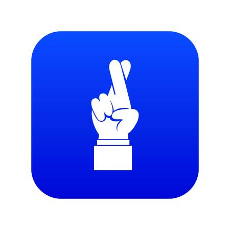 Fingers crossed icon digital blue for any design isolated on white vector illustration