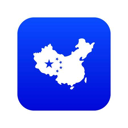 Map of China icon digital blue for any design isolated on white vector illustration