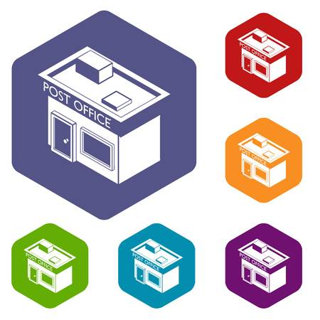 Post office icons vector hexahedron