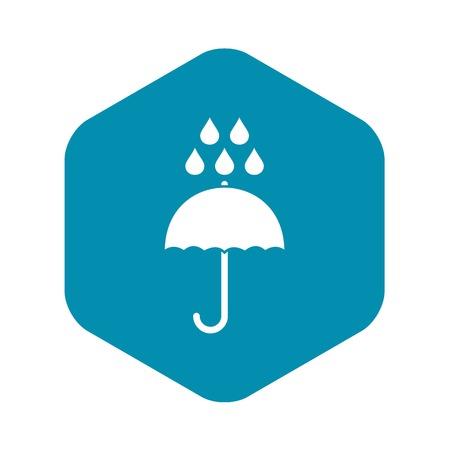 Umbrella and rain drops icon, simple style Stock Illustratie