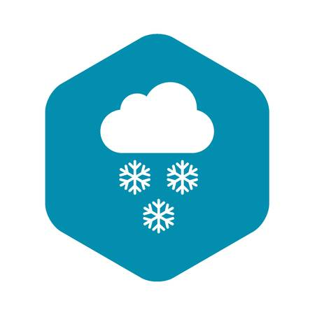 Cloud and snowflakes icon in simple style isolated vector illustration
