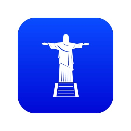 The Christ the Redeemer statue icon digital blue Vetores