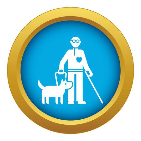 Invalid person with dog icon blue vector isolated on white background for any design Stock Illustratie