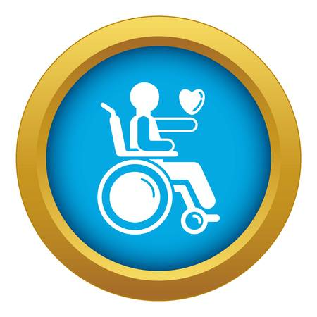 Man in wheelchair icon blue vector isolated on white background for any design