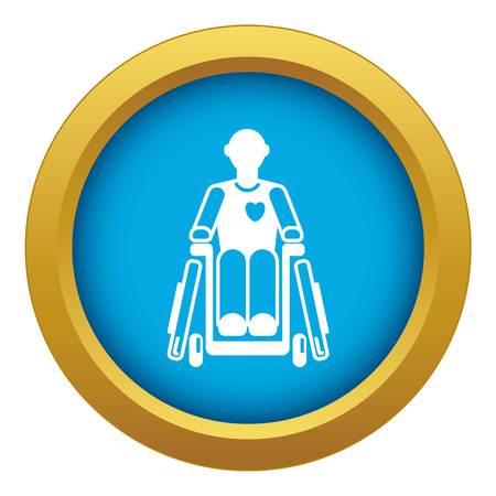 Invalid man wheelchair icon blue vector isolated on white background for any design Illustration