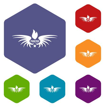 Phenix wing icons vector hexahedron Vectores