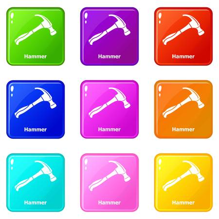 Hammer icons set 9 color collection isolated on white for any design