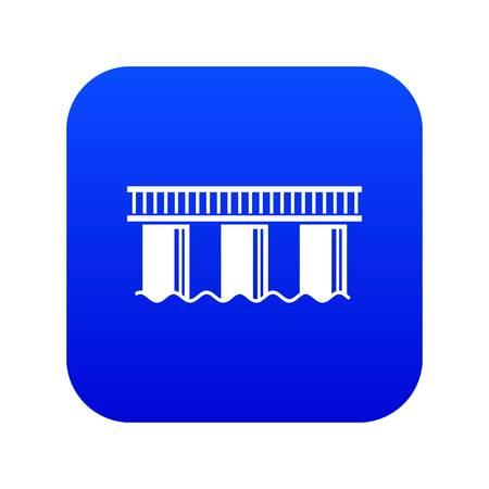 Urban bridge icon blue vector isolated on white background Illustration