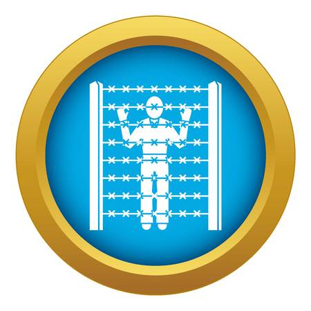 Migrant man at border icon blue vector isolated