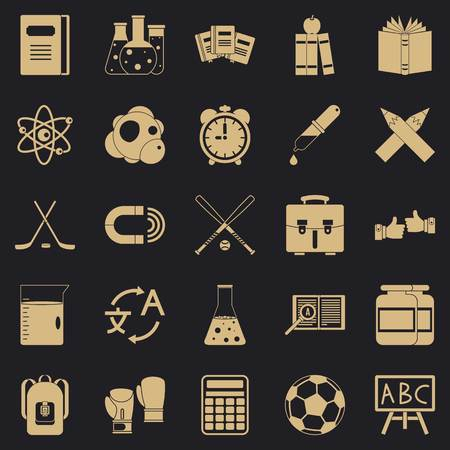 Campus icons set, simple style
