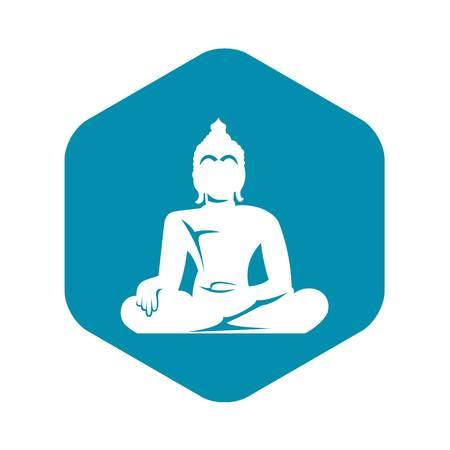 Statue of Buddha sitting in lotus pose icon