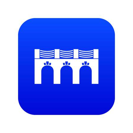 Old arch bridge icon blue vector isolated on white background Illustration