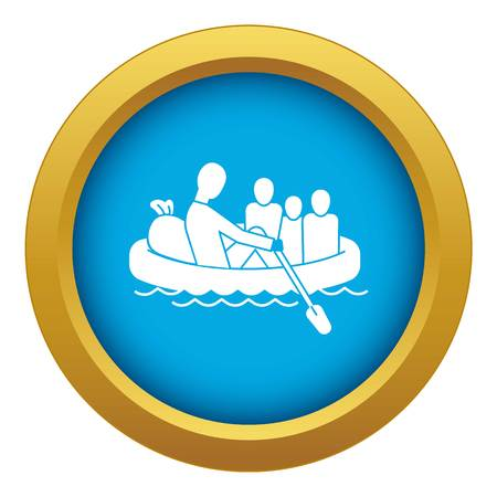 Migrant family in boat icon blue vector isolated on white background for any design
