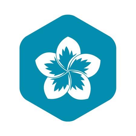 Icône de fleur de frangipanier en illustration vectorielle de style simple isolé