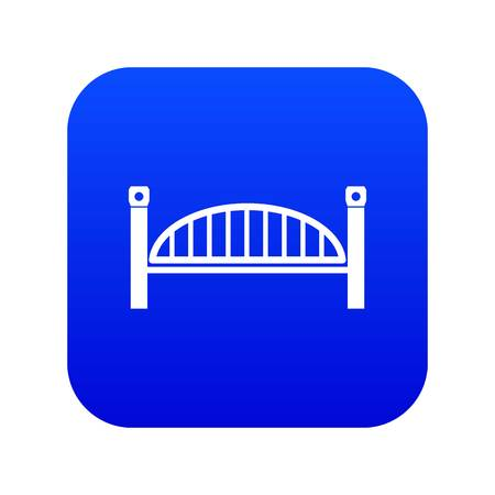 Modern arch bridge icon blue vector isolated on white background