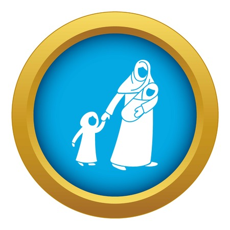 Refugee mother children icon blue vector isolated on white background for any design Illustration