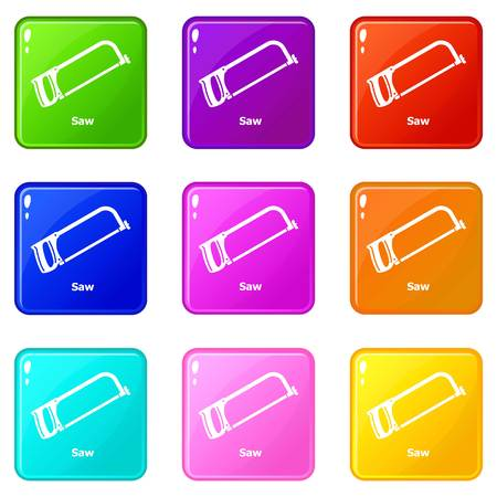 Saw icons set 9 color collection isolated on white for any design Illustration