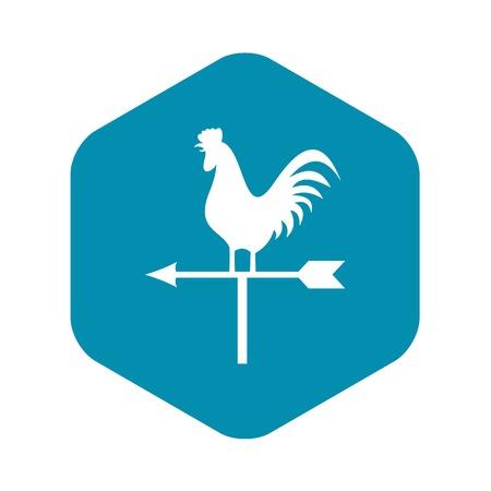 Veleta con icono de gallo en la ilustración de vector aislado estilo simple Ilustración de vector