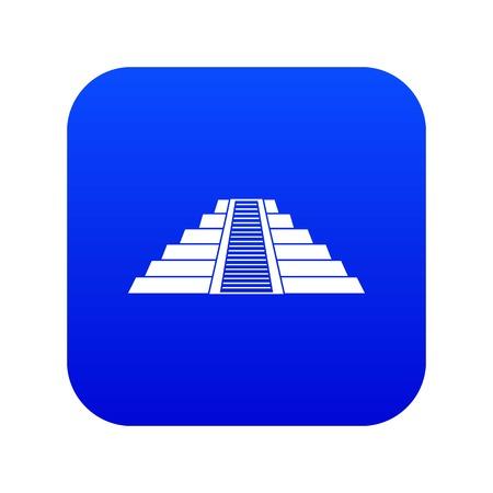 Ziggurat in Chichen Itza icon digital blue