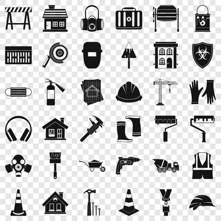 Construction shield icons set, simple style