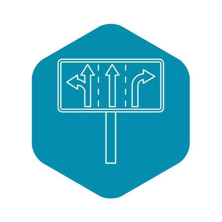 Traffic lanes at crossroads junction icon. Outline illustration of traffic lanes at crossroads junction vector icon for web Illustration