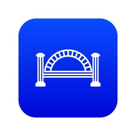 Metallic bridge icon blue vector isolated on white background