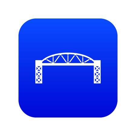 Metal bridge icon blue vector isolated on white background Illustration
