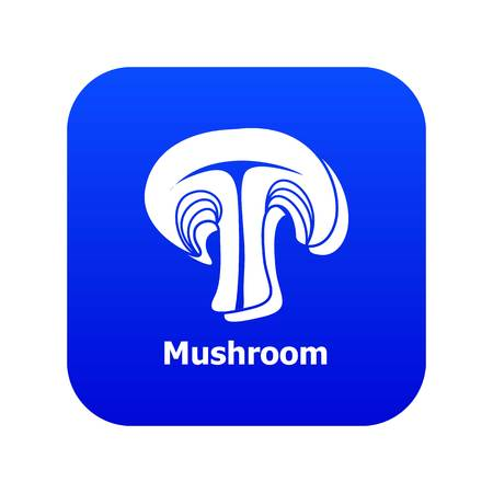 Mushroom icon blue vector isolated on white background