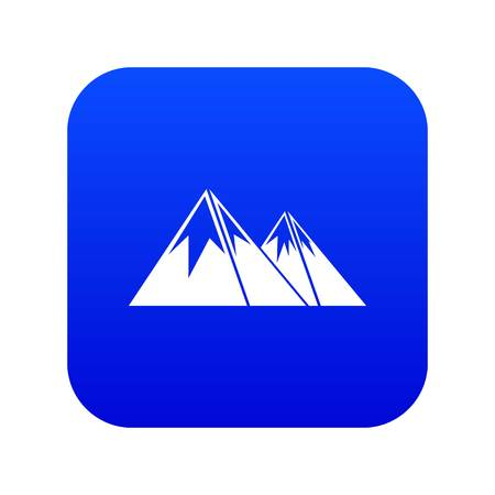 Mountains with snow icon digital blue for any design isolated on white vector illustration