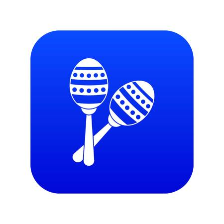 Maracas icon digital blue for any design isolated on white vector illustration  イラスト・ベクター素材