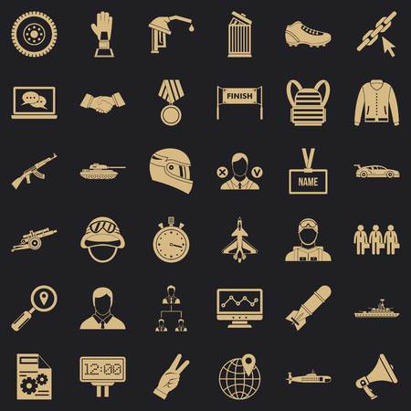 Victory icons set, simple style Illustration