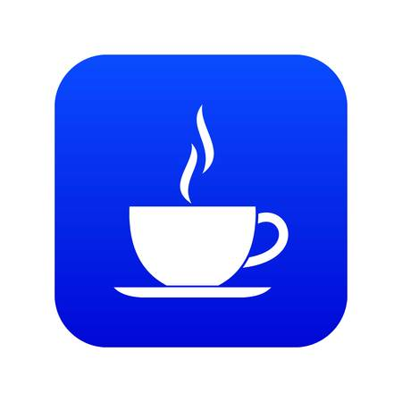Cup of hot drink icon digital blue for any design isolated on white vector illustration Иллюстрация